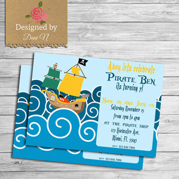 Pirate Birthday Invitation, Ship printable invite, Under the sea pirate birthday party, Blue and yellow, pirate of the caribbean