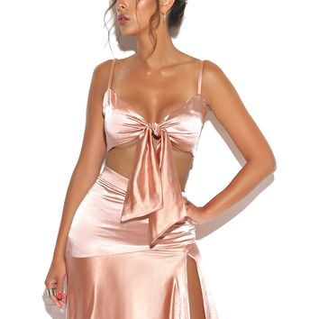 Voice Of Reason Tie Front  Satin Top In Peach