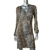INC Womens Metallic Animal Snake Print Cocktail Dress