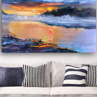 Original Oil Painting on canvas, Landscape and Scenic Abstract Art, Wall Hanging Decor, Best Gifts For Him, Bright Home Decoration, Sunset