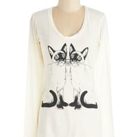 Supermaggie Cats Mid-length Long Sleeve In It to Twin It Tee