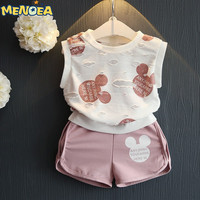 Menoea Summer Style Girls Clothing Sets Cartoon Print T-shirt+Short 2Pcs for Kids Clothes 3-7Y Short Sleeve