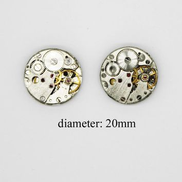 2pcs/lot Antique Old Mechanical Watch Movements Steampunk Vintage Cufflink Jewelry Making Parts Copper Movement Accessories
