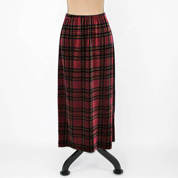 Long Plaid Skirt Velvet Skirt Women Small Petite Maxi Skirt Velour Red Maroon Burgundy Plaid Velvet JG Hook Vintage Clothing Womens Clothing