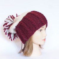 Irish handknit maroon and white county hat slouchy hats with pompom fun knitted wool hats for women teenagers child chunky yarn