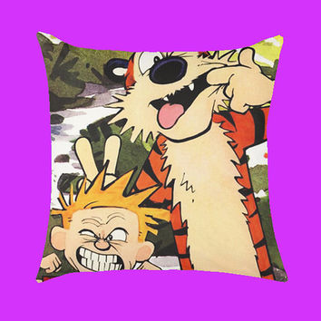 Calvin and Hobbes Cute - Pillow Case, Rectangle Pillow One Side/Two Sides.