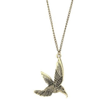 Hummingbird Necklace Tropical Bird Antique Gold Tone Pendant NC34 Fashion Jewelry