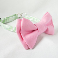 Dog Tag Collar - Green Seersucker and Light Pink Bow Designer Dog Necklace - ID tag dog collar, green dog collar