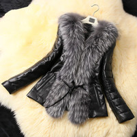 Women Winter Warm Faux Leather Fur Coat jackets overcoat abrigos mujer jaqueta couro vestidos