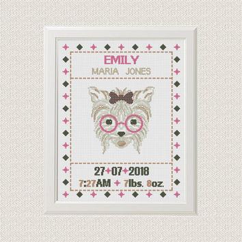 Dog Birth announcement baby sampler Cross stitch animal cross stitch pattern  new baby girl birthday gift nursery decor