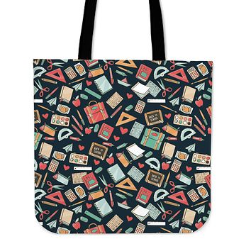 Teacher Pattern Linen Tote - Promo