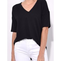 Rag & Bone Phoenix Vee Tee - Black Deep V Neck Tee