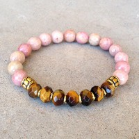 Prosperity and Love, Pink Rhodochrosite and Tiger´s Eye Gemstone Bracelet