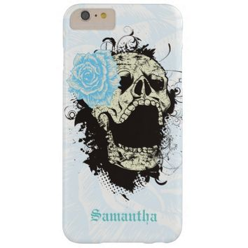 Cool gothic skull and aqua blue rose barely there iPhone 6 plus case