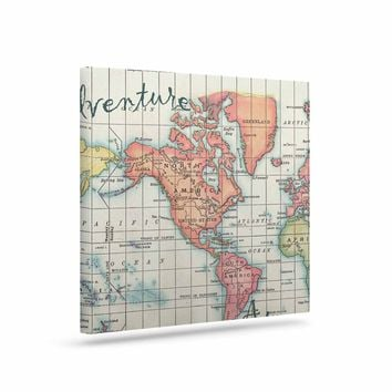 "Catherine Holcombe ""Adventure Awaits World Map"" Beige Pink Mixed Media Vintage Travel Art Canvas"