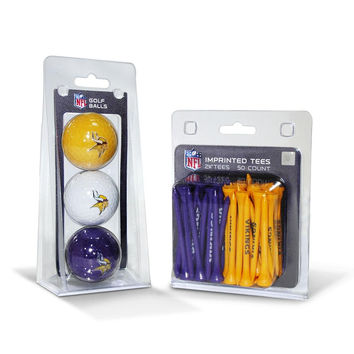 Minnesota Vikings NFL 3 Ball Pack and 50 Tee Pack