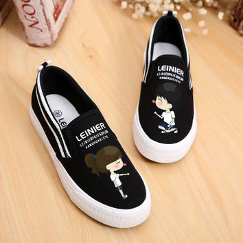 New 2017 Spring Low Foot Wrapping Lazy Cat Hand Painted Canvas Shoes Women Flat Pedal Shoes Girl Gg