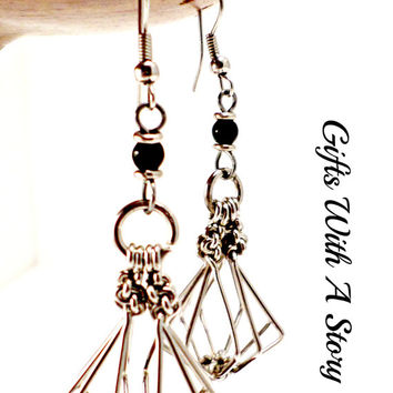 wire wrapped earrings silver plated fair trade basket shaped weaved black earrings silver earring high fashion jewelry photography props