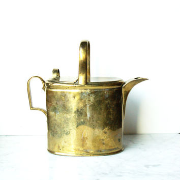 Brass Watering Can / Vintage Metal Pitcher / Mid Century Vessel / Gardening Tools / Drink Container