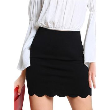 Black Sexy Mini Fitting Skirt Scallop Edge Form Women Elegant OL Summer Pencil Skirts  Back Zip Up Brief Club Skirt