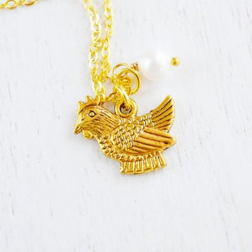 Gold Chicken Necklace,Rooster Charm Necklace,Chicken Bird,Cute Chicken Pendant,Farm Animal Necklace,Hen Necklace,Chicken Jewelry, Barnyard