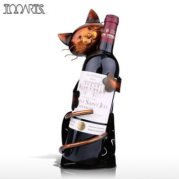 TOOARTS Cat Wine Holder Wine Rack Shelf Metal Sculpture Practical Sculpture Wine stand Home Decoration Interior Crafts