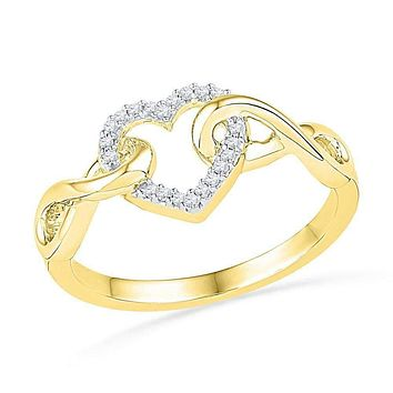 10kt Yellow Gold Women's Round Diamond Infinity Twist Heart Ring 1/10 Cttw - FREE Shipping (US/CAN)