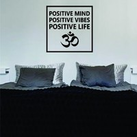Positive Mind Vibes Life Om Simple Square Design Quote Decal Sticker Wall Vinyl Art Words Decor