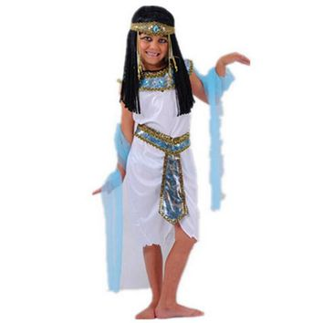 White Egyptian  Cleopatra Costumes Halloween Cosplay Masquerade Party Children Cute Exotic Prince Party