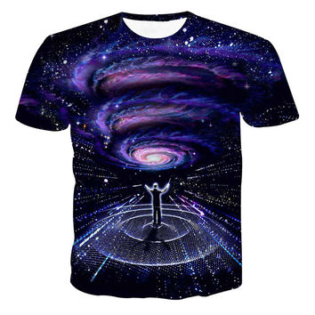 XQXON-Newest galaxy space printed creative t shirt 3d men's tshirt summer novelty 3D feminina psychedelic tee shirts clothes