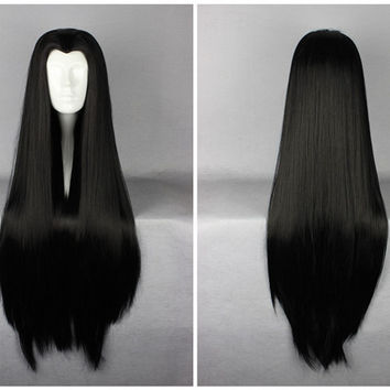 Classical Janpanese Anime 90cm Long Black Straight Anime Cosplay Wig,New Highlight Ombre Colorful Candy Colored synthetic Hair Extension Hair piece 1pcs WIG-008C
