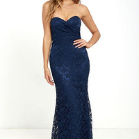 Inherent Beauty Navy Blue Lace Strapless Maxi Dress