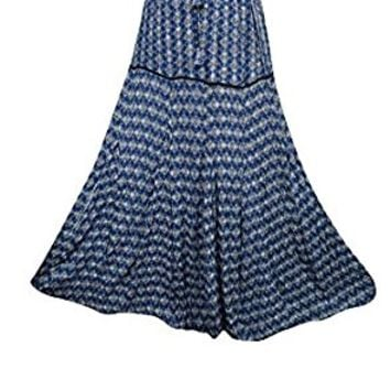 Mogul Womens Long Skirts Blue Printed Gypsy A-line Flirty Flare Boho Maxi Skirts