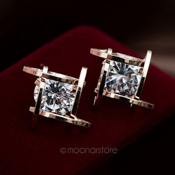 Hollow Out Square Zircons Earrings Ear Studs = 1946803268