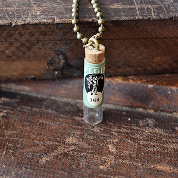 Antique Elgin Watch Vial Necklace - Message In A Bottle - Antique Glass Watch Vial - Steampunk Vial Necklace