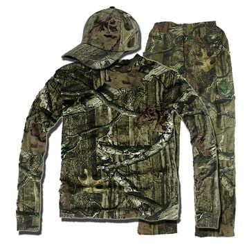 Outdoor Bionic Camouflage Hunting Fighting Suits Dress Shirt Pants Hat Tactical Breathing Ghillie  Snipe Military Clothing