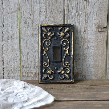 Shabby Chic Switch Cover Black Gold Single Wall Plate Ornat