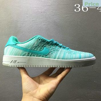 Sneaker paint Nike air force 1 AF1 Flyknit low Turquoise Blue 820256 300 shoe