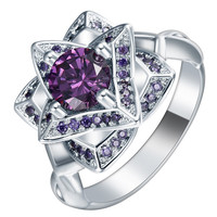 Purple Amethyst / White Crystal Love Flower Vintage Ring