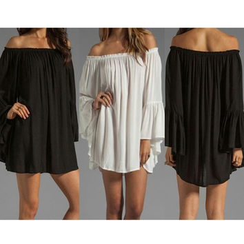 Womens Boho Sexy Long Sleeve Chiffon Lace Off Shoulder Short Mini Dress Long Tops Vestido(Size,S-XXL) = 5738888705