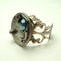 dime coin steampunk ring- watch movement parts adjustable filigree