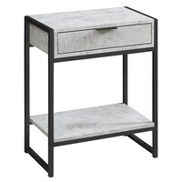 """Accent Table - 24""""H / Grey Cement / Black Nickel Metal"""