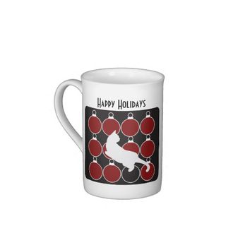 Red Christmas Ornament and Cat Design Modern Chic Tea Cup