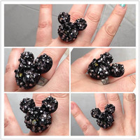 Mickey Mouse Inspired Black Crystal Encrusted Adjustable Ring