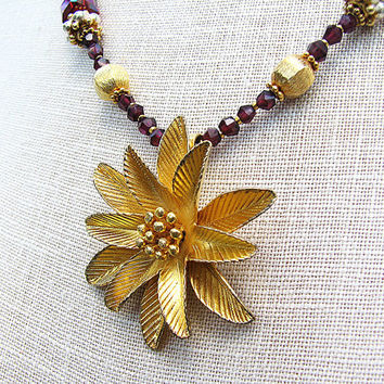 Red garnet necklace 24k gold vermeil flower pendant Single strand beaded necklace Burgundy pearl jewelry Beaded jewelry