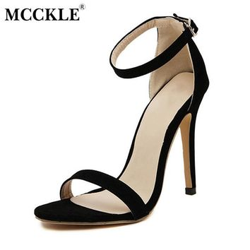 MCCKLE Women Sexy High Heels Female Ankle Strap Buckle Stiletto Open Toe Shoes 2017 El