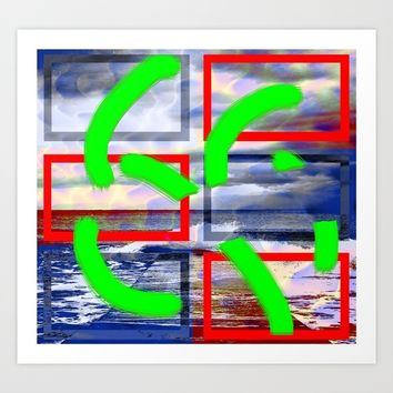 Collage with water effect Art Print by Ellen Turner