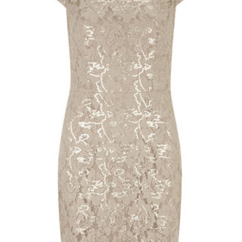 Champagne Sequin Lace Pencil Dress