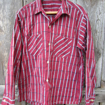 50s Striped Button-up Shirt in Tile Red and Grey, Men's M // Vintage Straight Bottom Long Sleeve Shirt