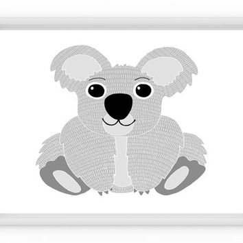 Koala Print, Baby Shower Decor, Kids Room Decor, Koala Decor, Nursery Koala Print